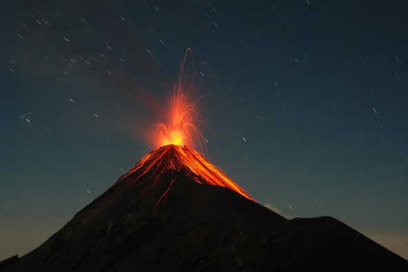 someone else's cool photo of Fuego erupting at night