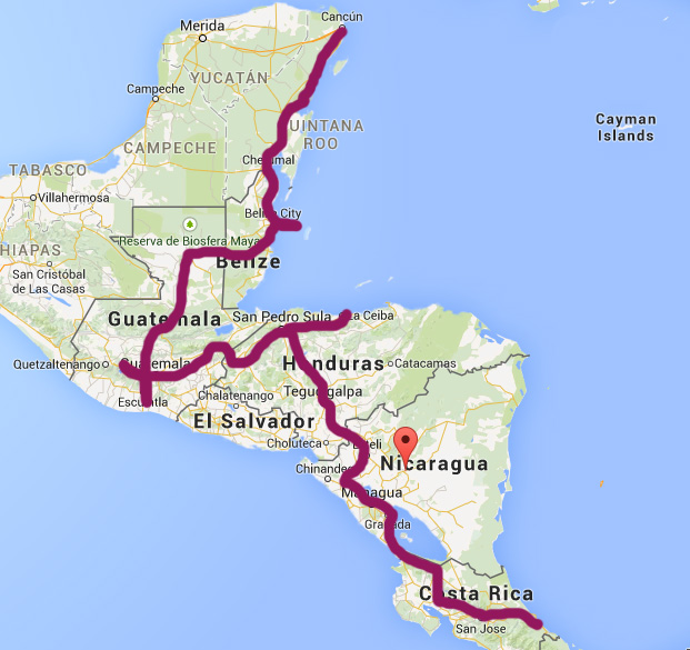 my route, starting in San Jose and ending in Cancun