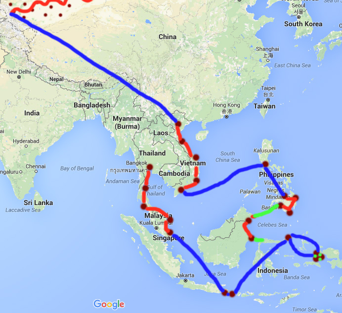 MAROON = DESTINATIONS       RED = OVERLAND    BLUE = AIR    GREEN = FERRY