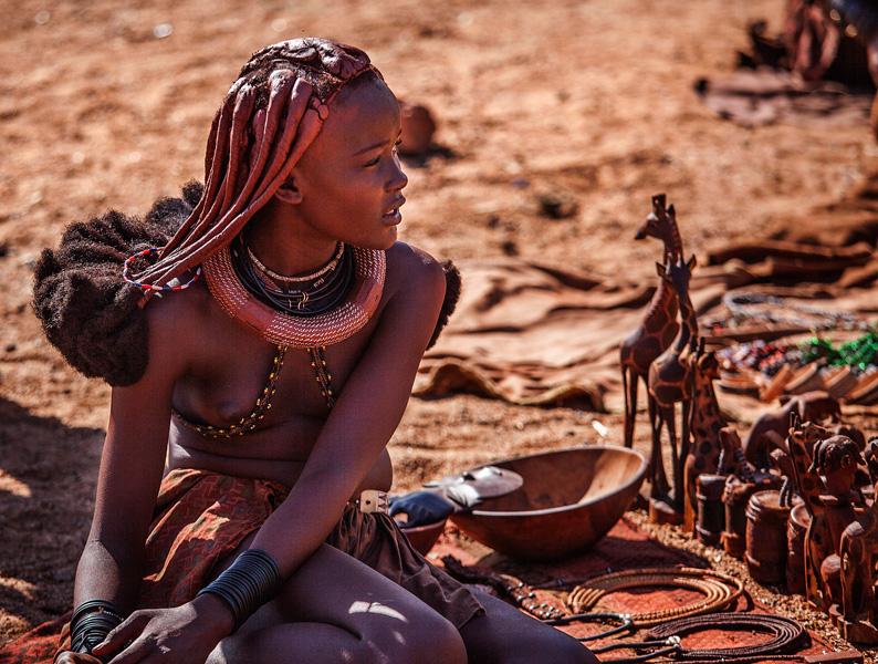 Himba woman selling stuff