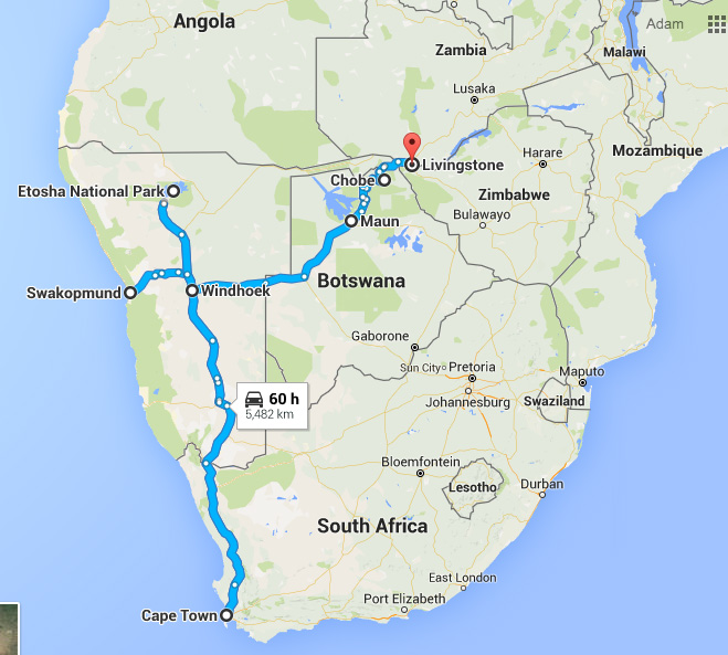 not our actual route, but here's to give you an idea