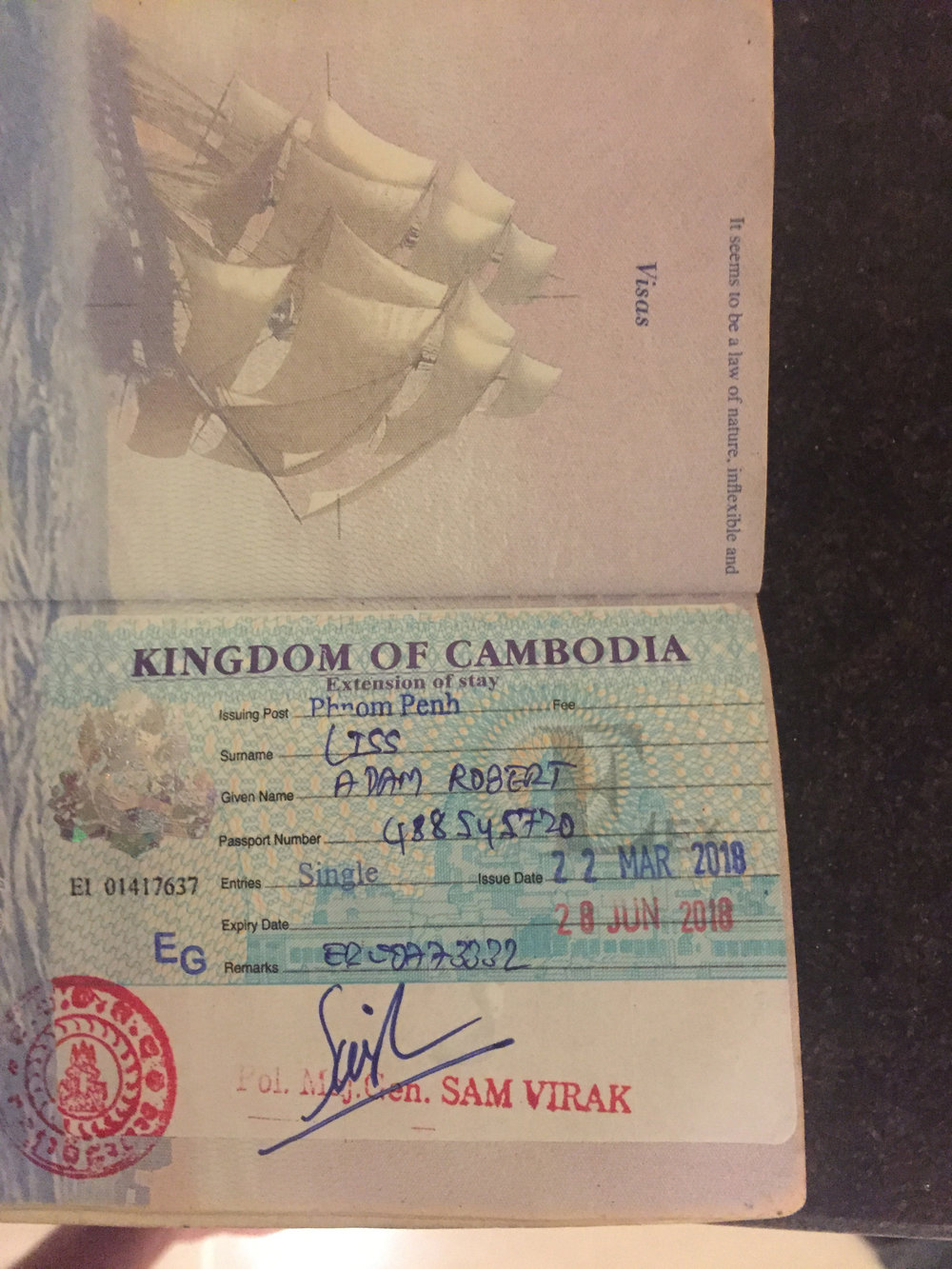 The fact that each new visa takes up a whole page really grinds my gears. I'm going to be out of pages soon thanks to Cambodia :(