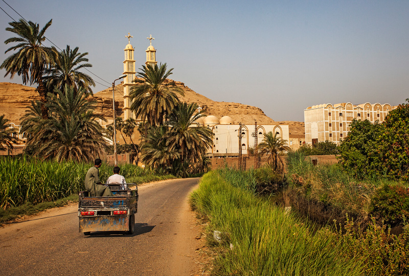 the road through the fields to the Coptic Church