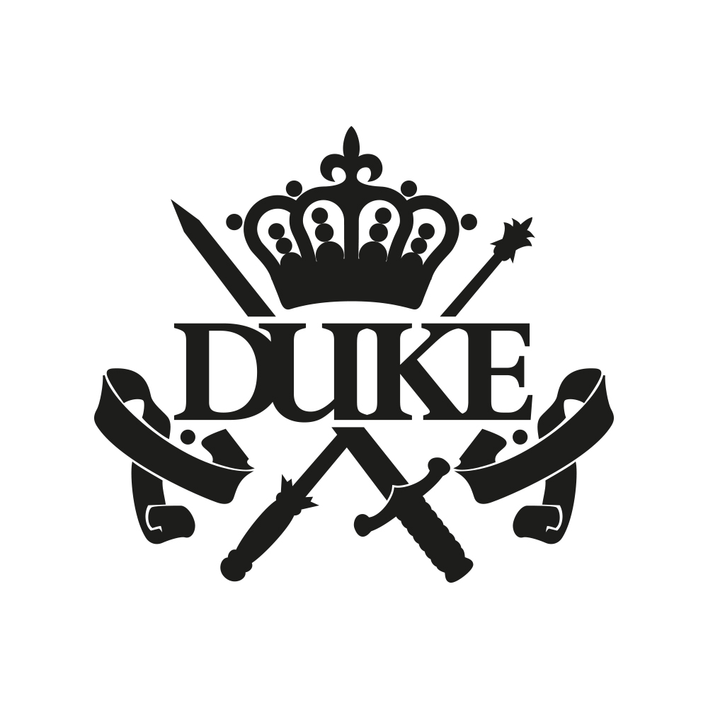 DUKE OFFICIAL Were you expecting a silhouette of three cheeky chaps? Or perhaps an image of a microphone or a guitar with musical notes coming out of it? Negatory good buddies. This is Duke's emblem, their house shield, coat of arms, their aristocratic identity passed down through the ages. The swords represent the hard fought... Read More -->