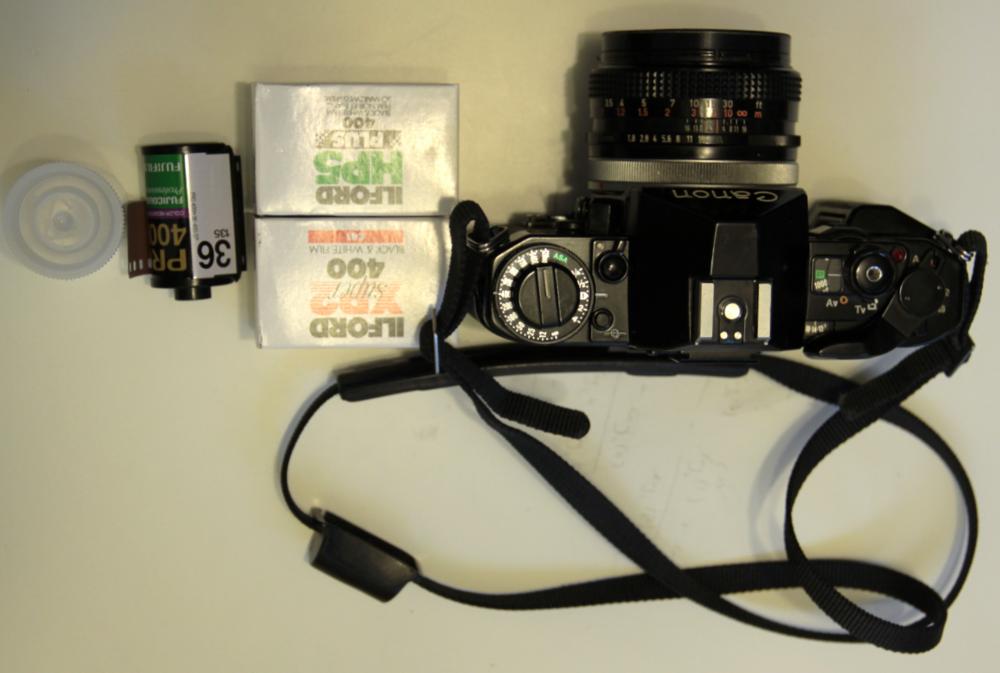 Top down view of A1 w/ Ilford XP2 / HP5Plus B&W and Fujifilm Pro 400 Colour