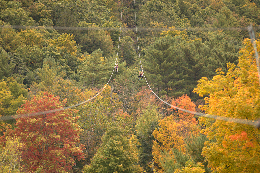 Dual racing ziplines at Kittatinny Canoes, near the Delaware River.
