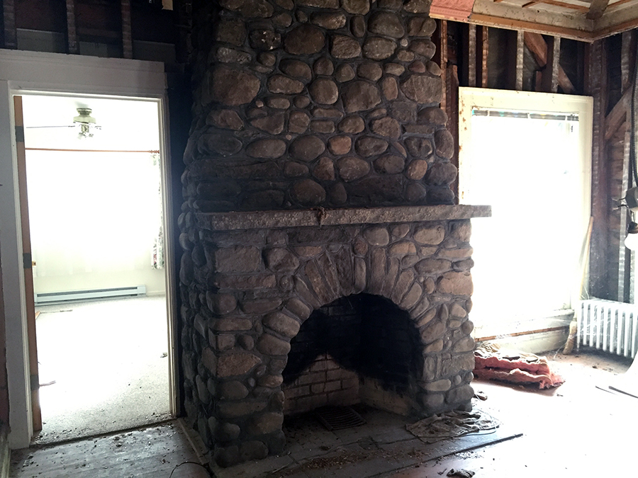 Demo revealed this stone chimney