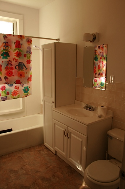 One of two full bathrooms.