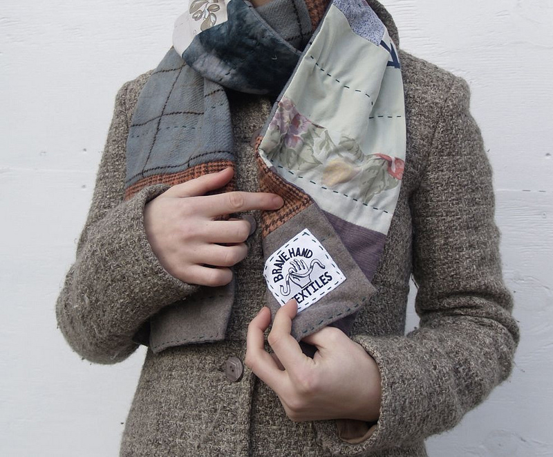 Quilted Scarf with Brave Hand Textiles tag.