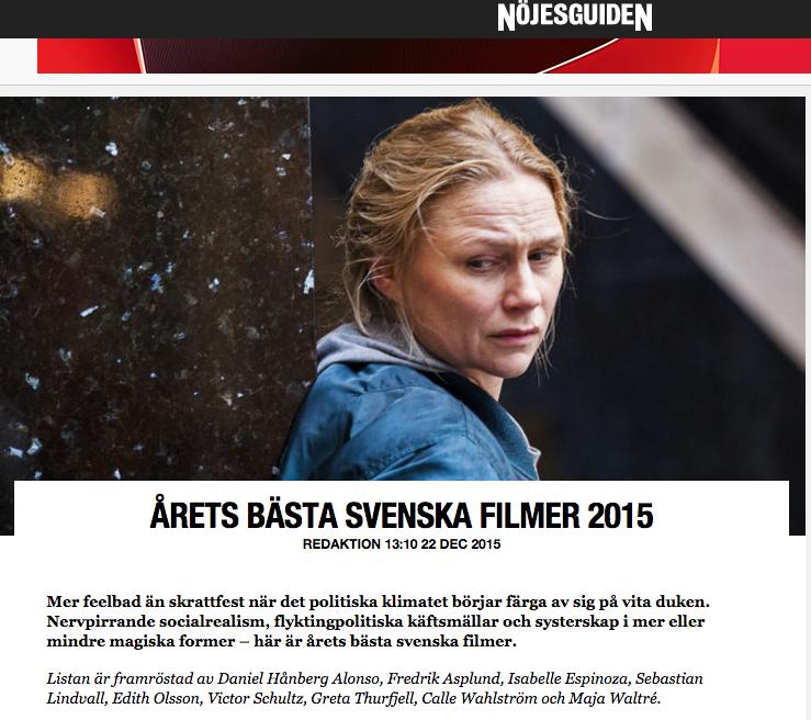 Tjuvheder Bästa Svenska film 2015 enligt Nöjesguiden