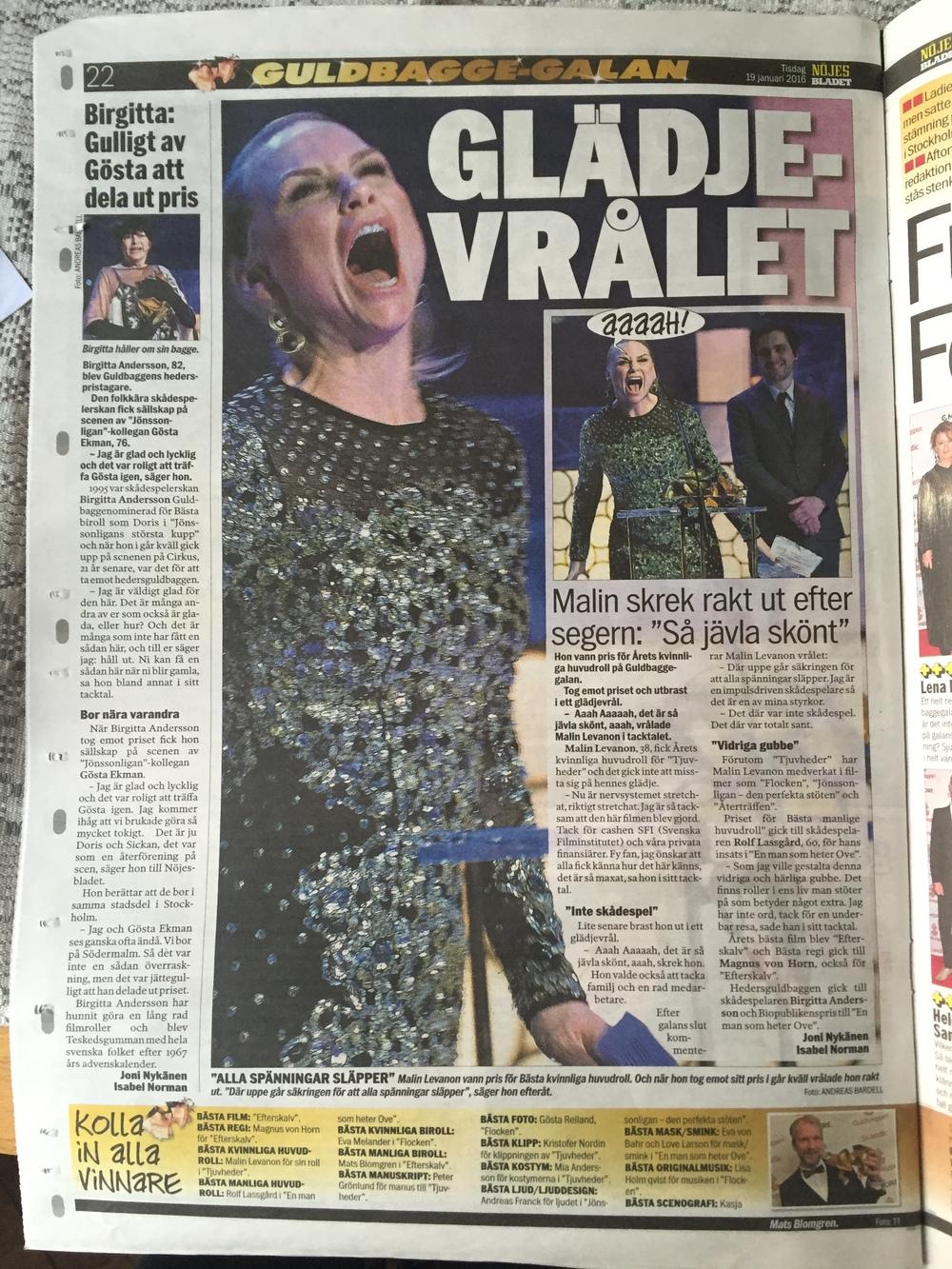 Malin Levanon Guldbagge vinnare Expressen
