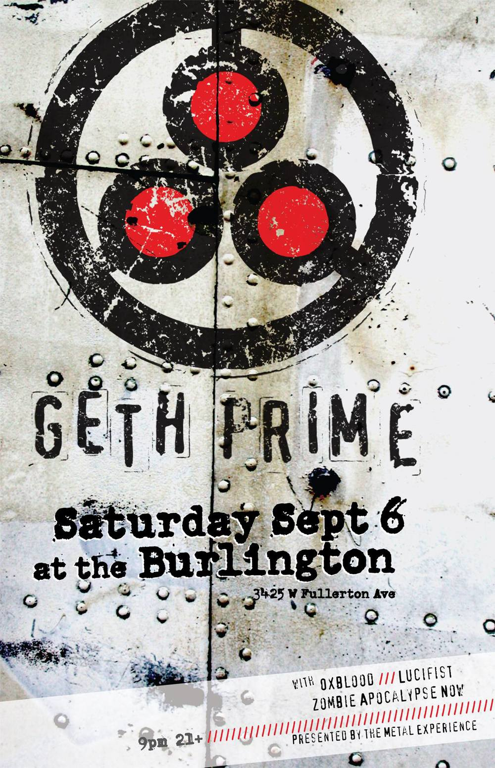 Show poster for Oxblood Band metal infused experimental rock trio show with Geth Prime, Lucifist, and Zombie Apocalypse Now at The Burlington of Sept., 6th 2014