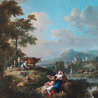 Francesco Zuccarelli A Wooded River Landscape with Milkmaids