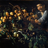 Master of the Acquavella Still Life a. Still life with apples, pears and peaches on a plinth with classical motifs; b. Still life with peaches in a wicker basket and a boy
