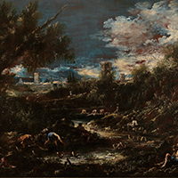 Antonio Francesco Peruzzini and Alessandro Magnasco A wooded landscape with travellers and washerwomen by a stream, a fortified town in the background A wooded landscape with travellers resting by a stream, a fortified castle in the background