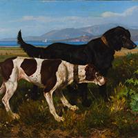 Filippo Palizzi Pointer and Setter pursuing a quail