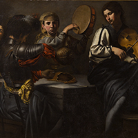 VALENTIN DE BOULOGNE  AN INTERIOR SCENE WITH MUSICAINS AND DRINKERS