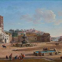 Gaspar van Wittel, called Vanvitelli Title:Piazza della Bocca della Verità, with Santa Maria in Cosmedin and the Temple of Hercules Victor, Rome