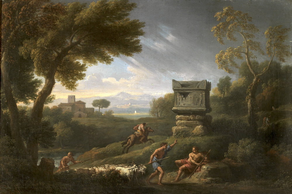JANS FRANS BLOEMEN, detto ORIZZONTE   ROMAN LANDSCAPE WITH SHEPHERDS AND MAN ON A HORSE BY THE TOMBSTONE OF NERO