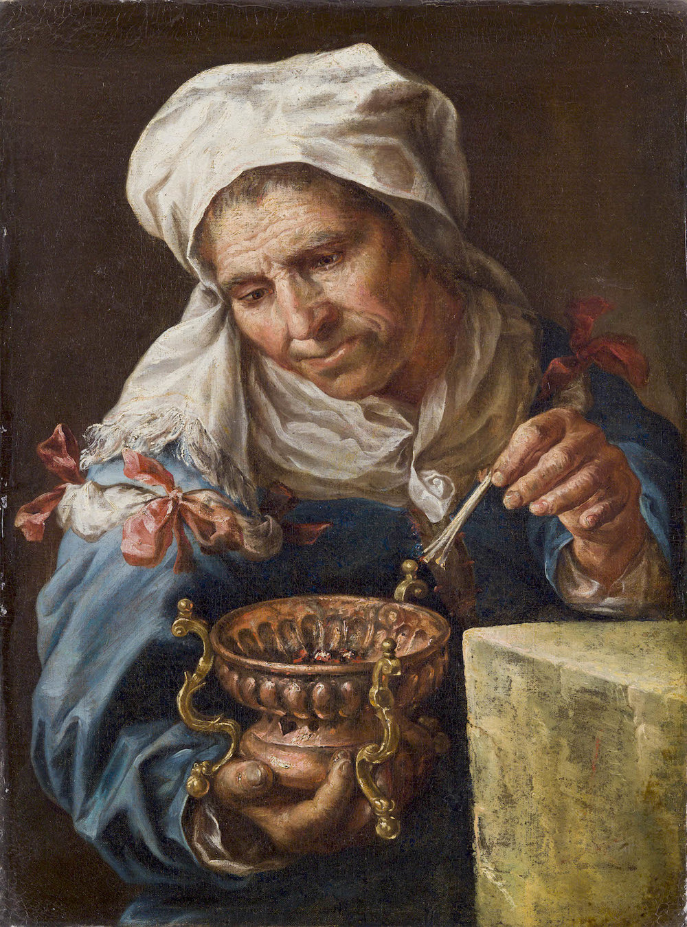 EBERHARD KEILAU called MONSU'   ELBERLY WOMAN WITH SMALL BRAZIER
