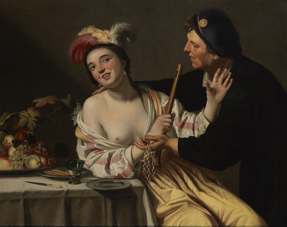GERRIT VAN HONTHORST   A YOUNG PROSTITUTE WITH AN OLD CLIENT