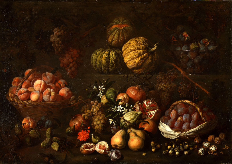 BARTOLOMEO BIMBI   STILL LIFE WITH FRUITS ON TWO STONE STEPS