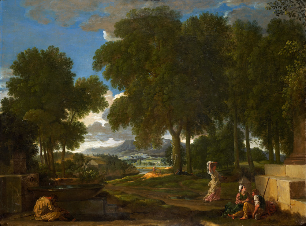 Nicolas Poussin      (Les Andelys 1594-1665 Les Andelys)              Landscape with a man washing his feet at a fountain       Oil on canvas, 74.3 x 100.3 cm