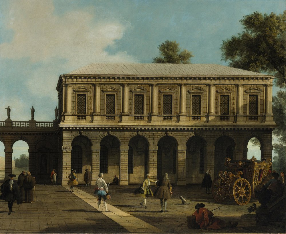 GIOVANNI ANTONIO CANAL, called CANALETTO     (Venice, 1697 – 1768) A Capriccio of the Prisons of San Marco Oil on canvas, 105.5 x 127.5 cm