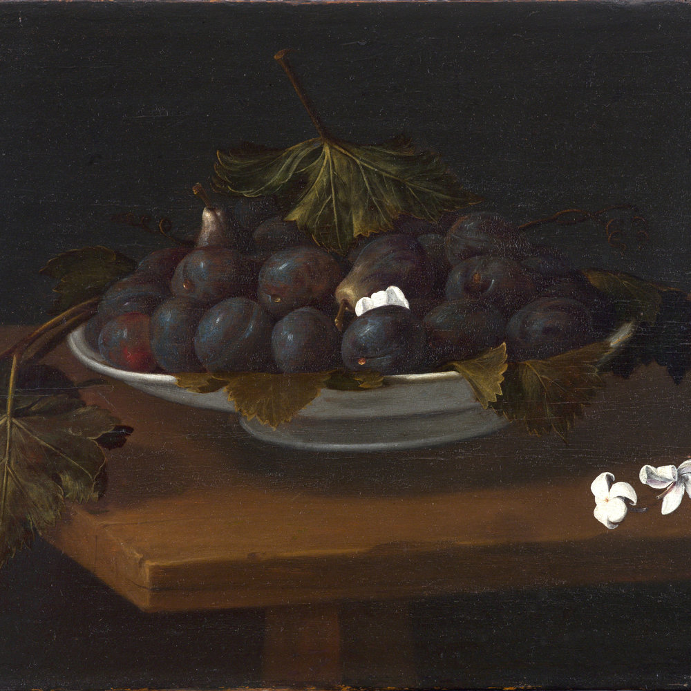 FEDE GALIZIA   FRUIT BOWL WITH PLUMS AND FIGS AND TWO JASMINES ON A TABLE