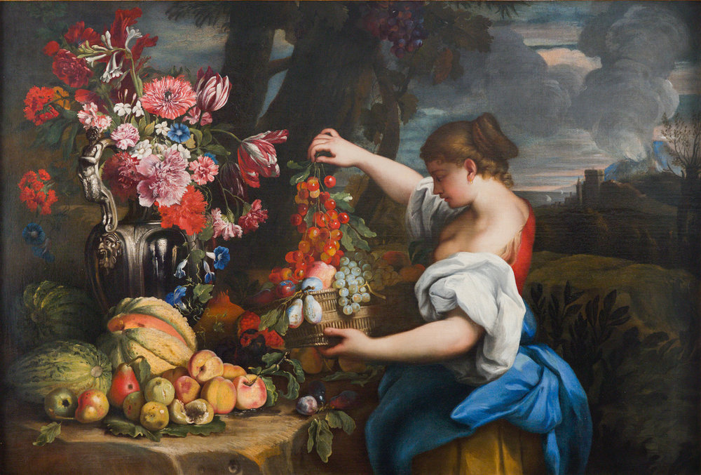 ABRAHAM BRUEGHEL   STILL LIFE WITH FRUIT AND FLOWERS IN A GARDEN WITH A GIRL HOLDING A BASKET