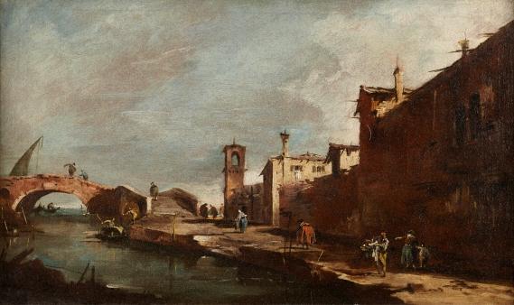 FRANCESCO GUARDI   A CAPRICCIO WITH FIGURES AND A BRIDGE ON A CANAL