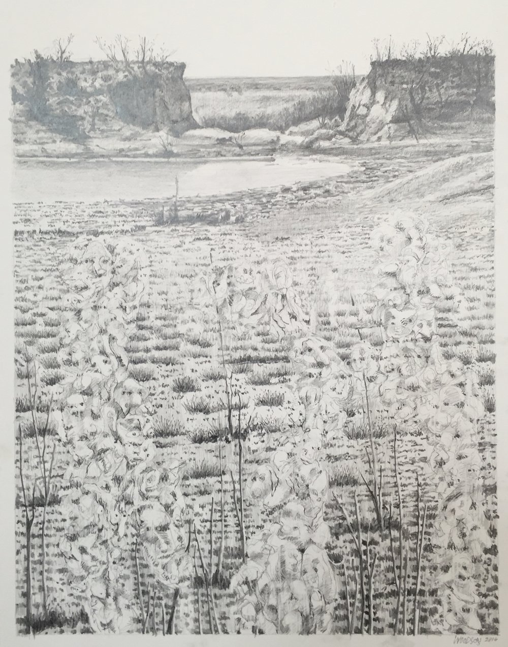 "Edwards Ranch Project Drawing 2016 graphite on paper  24"" x 19"" cat no 16002 C"