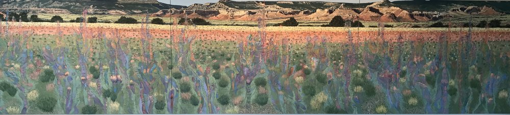 """Continuous Transitioning Premonitory Convergences 2017 oil on canvas  60"""" x  288"""" (3 8'panels) cat no 17018"""