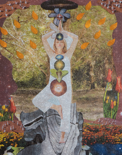 """Cosmic Collage by Kathryn Andren Art. """"Grounded 2,280 Miles Down"""" c. 2013"""