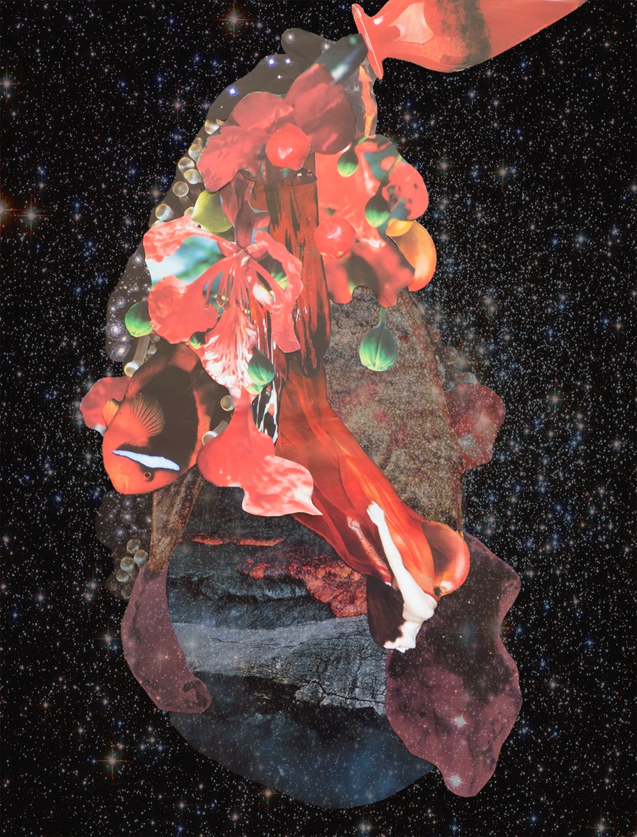 Pele's Passion. A cosmic collage by Kathryn Andren c.2013 Mars in Scorpio meeting Moon and Sun for Leo Full Moon inspires passionate creativity.