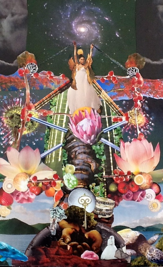 Queen of Heaven Ascends the Tree of Life, A cosmic collage by Kathryn Andren  c.2012