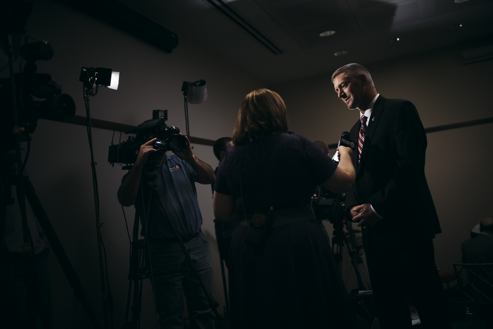 Toby Shelley, who ran for sheriff of Onondaga County, fields questions from a Channel 9 news anchor at the Onondaga County Democratic Election Night Party. To the surprise of the party, Shelley was not elected to become the county's new sheriff. After raising nearly $100,000 more on his campaign, Gene Conway took the election with almost 7,500 more votes.