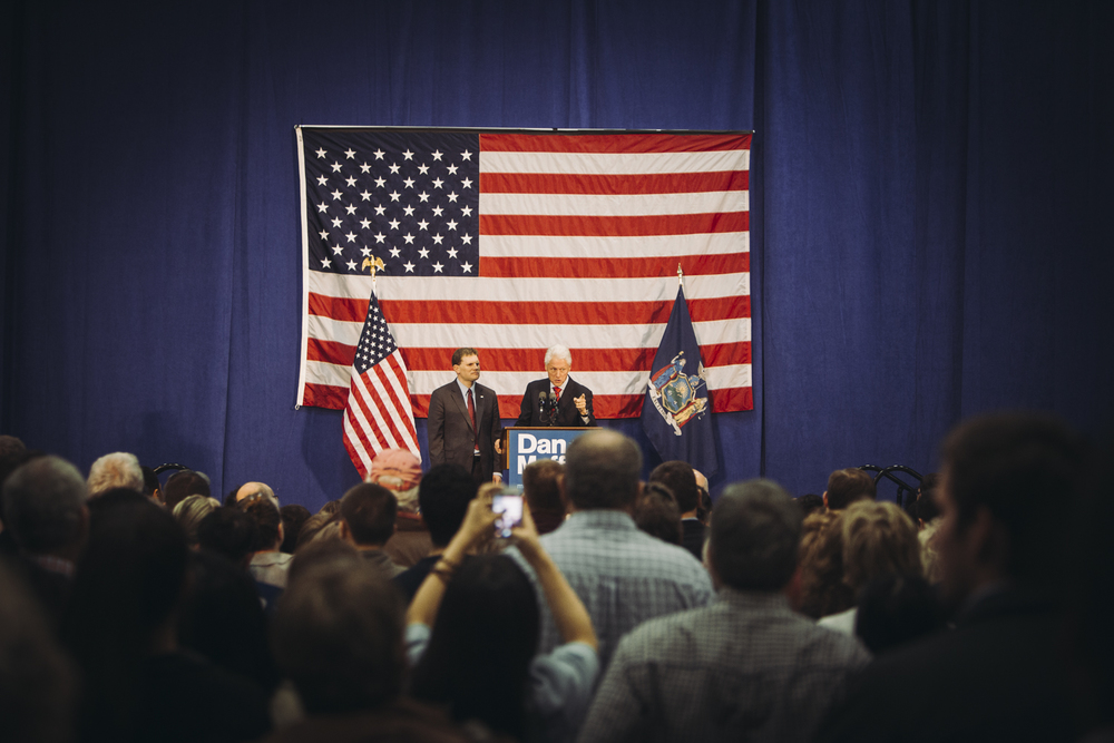 Former President Bill Clinton spoke to more than 750 people in support of Representative Dan Maffei in a hangar at Syracuse Hancock International Airport. Clinton spoke in support of Maffei's positions on issues like equal pay for women, college affordability and economic growth of the middle class.