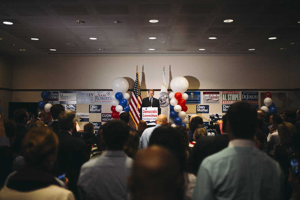 Congressman Dan Maffei looks out at the crowd after announcing his apponent, John Katko was more than likely to win the election. Maffei addressed his defeat shortly after 10:30 pm, by expressing his dissappointment and thanking everyone for their support. The final count shows Maffei gaining 40% of the vote while Katko earned more than 35,000 more votes.
