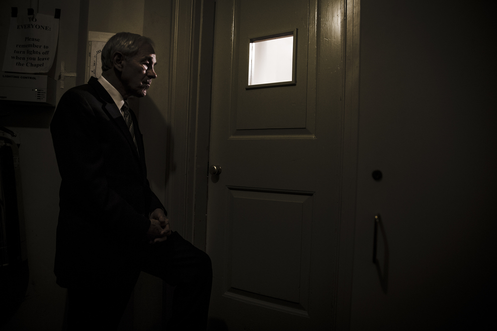 Ron Paul looks out at his audience moments before taking the stage at Syracuse University's Hendricks Chapel to deliver a speech on Libertarianism and the current political landscape in an event hosted by College Republicans.