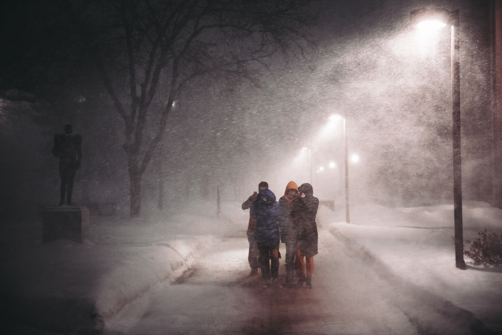 Students brave one of the worst snow storms of the winter on their way into the Carrier Dome moments before the Syracuse Orange tipped off against ACC rivals Duke on Valentine's Day, 2015 in Syracuse, New York.