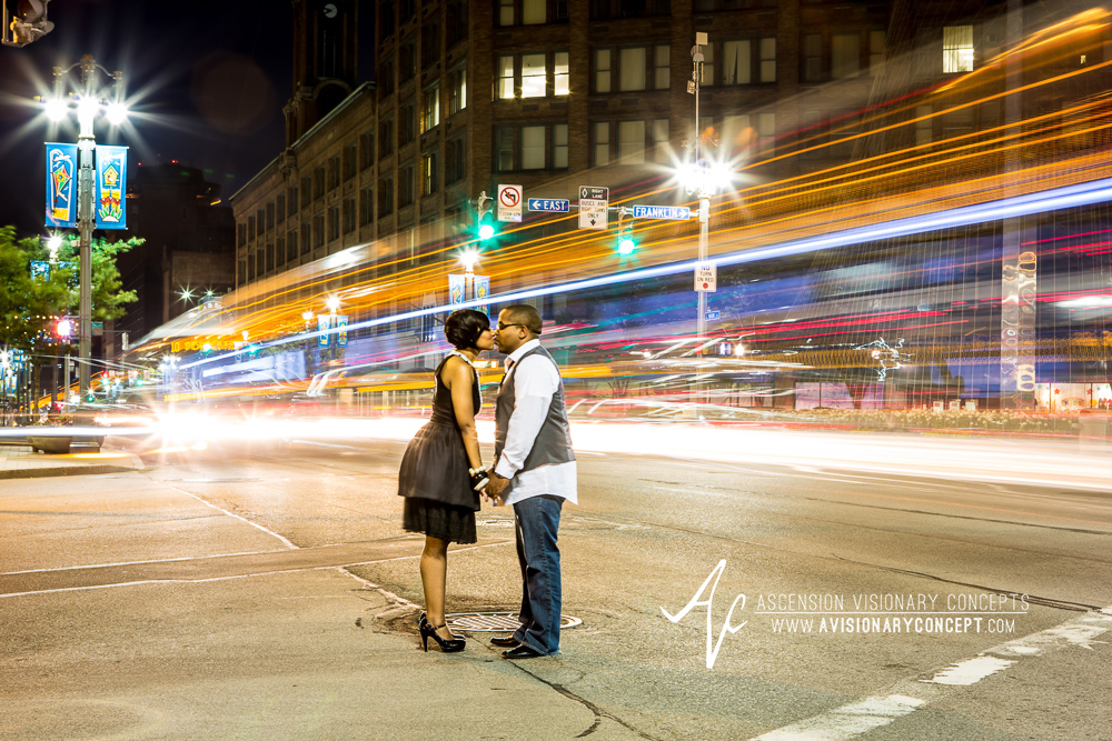 Rochester Engagement Photography: Capron Street Lofts, Downtown Rochester, Rochester Skyline, Genesee Gateway Park