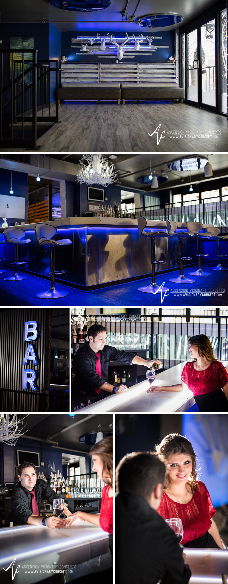 Trendy Bar and Lounge Engagement Photography Buffalo