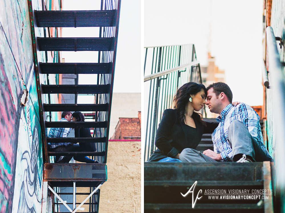 Buffalo Engagement Photography Urban City Anniversary Photography 020 Cityscape Fire Escape Stairs.jpg