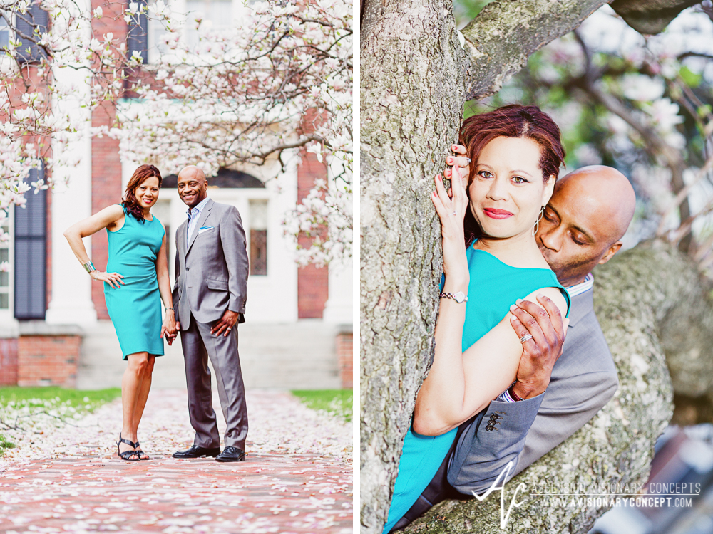 Buffalo Rochester Engagement Photography Spring Photography 002 Magnolia Trees Pink Blooms.jpg