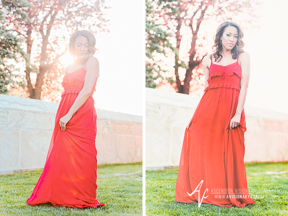 Buffalo Fashion Photography Buffalo Portrait Photography Spring Shoot Buffalo HIstory Museum 001 Flowy Red Dress African American Model.jpg