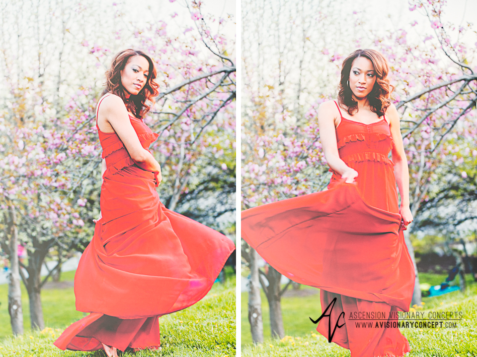 Buffalo Fashion Photography Buffalo Portrait Photography Spring Shoot Buffalo HIstory Museum 008 Flowy Red Dress Cherry Blossoms Barefoot African American Model.jpg