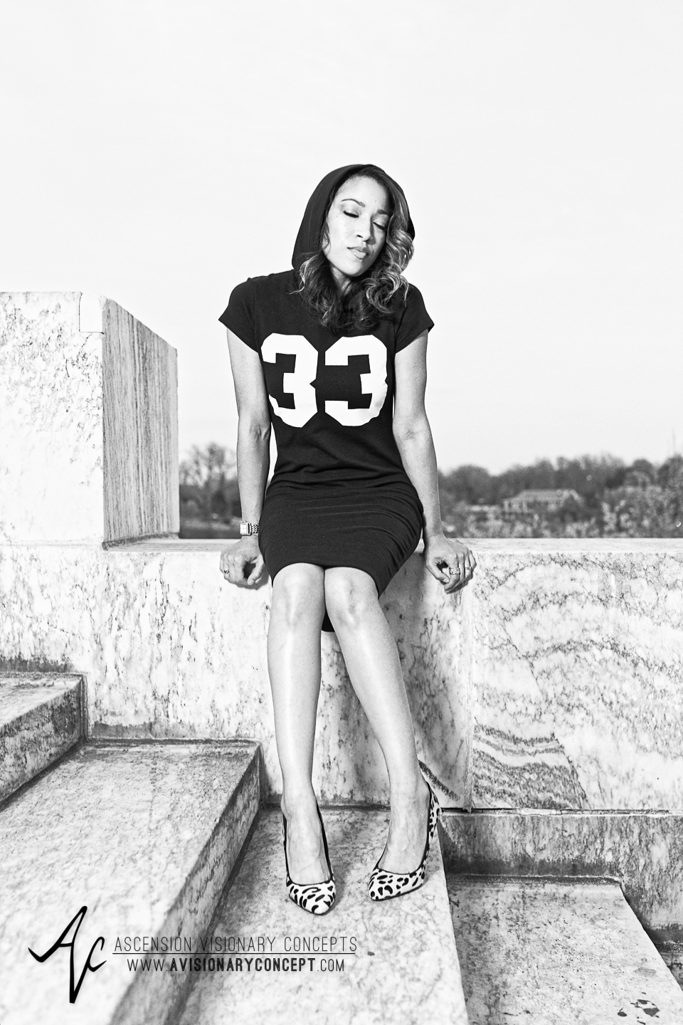 Buffalo Fashion Photography Buffalo Portrait Photography Spring Shoot Buffalo HIstory Museum 010 Black Hoodie Dress Leopard Print Shoes African American Model.jpg