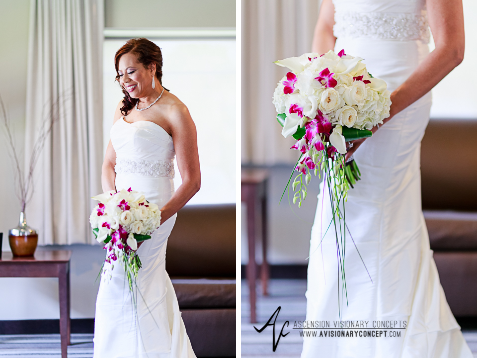 Rochester Wedding Photography 012 - East Avenue Inn & Suites Bride Fuschia White Pink Bridal Bouquet.jpg