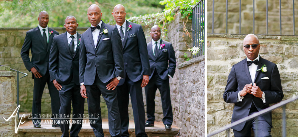 Rochester Wedding Photography 023 - Warner Castle Highland Park Sunken Garden Groom Groomsmen.jpg